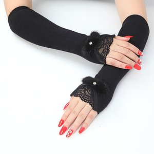 Hot Sale Women's Autumn Winter Arm Warmers Cashmere Fingerless Long Gloves Lace Warm Mittens Elbow Thread Knitted Sleeves Glove 201019