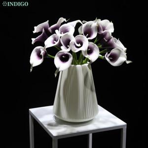 INDIGO- (21pcs Calla + Plastic Vase) PU Real Touch Calla Lily Decorative Artificial Flower Home Table Certerpiece Decoration