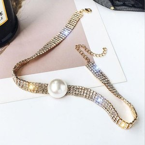 Popular Fashion Designer Choker Necklace for Womens Party Wedding Lovers Luxury Jewelry Chokers Necklace Bracelet with Crystal Pearl