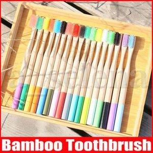 Cepillo de dientes del arco iris de bambú de 17 colores Ronda de bambú Mango Negro Cerda Tandenborstel adulto mango de madera con poco carbono del cepillo de dientes