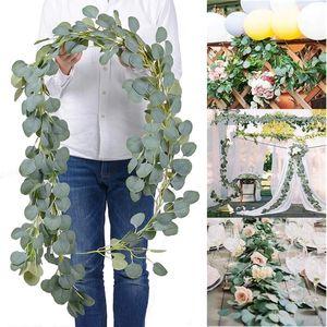 Contexto de la boda densa hoja artificial eucalipto Garland imitación de seda hojas de eucalipto Vine Garland Verde arco decoración de la pared GWC2873