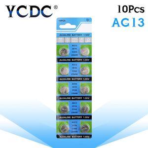 10pcs / pack Ag13 LR44 357 Knopfbatterien R44 A76 Sr1154 Lr1154 Zellen-Münzen-Alkaline-Batterie 1.55V G13 Für Uhren Spielzeug Fern wmtWPi bdegarden
