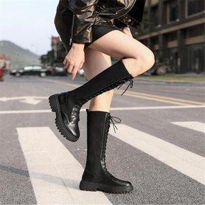 BBZAI New pattern shoes woman Round Toe Lace-Up 5cm Female money Boots waterproof platform women shoes Pipe Dance 34-42 43