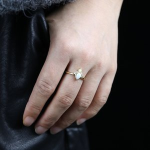 New Simple Opal ring Jewelry white cubic Zircon paved Gold Color crown shape tiny band Rings For Women wedding dainty jewelry