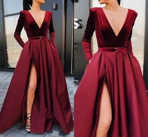 Sexy V Neck Prom Dresses 2021 Long Sleeves Elegant Satin Ruched Arabic Dubai Evening Party Gowns Side Slit A Line Vestidos De Fiesta AL8749