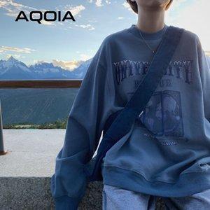 Aqoia Herbst Streetwear Lose Erddruck Frauen Sweatshirt Harajuku Übergröße Dünnes Sweatshirt Ins Hoodies T200904