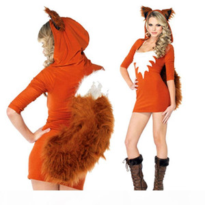 Christmas Winter Theme Costume Faux Fur Animal Uniform Halloween Plush Squirrel Outfits Orange Sexy Carnival Cosplay Fox Costume