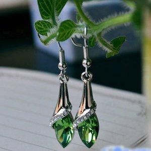 1 Pair Ethnic Rhinestone Crystal Drop Earrings Women Lady Marquise Teardrop Earrings Luxury Ladies Wedding Gift Party Jewelry