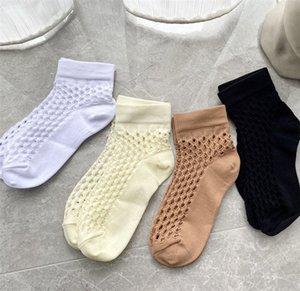 Designer Perforated Socks Brand Knitted Stocking for Women Newest Style Breathable Cozy Ankle Sock Delicate Gift