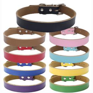 Gratuit Personnalisation ordinaire colliers pour chien en cuir couleur unie chien chat chiot Collier Petit Moyen Grand Très Grand AHF2147