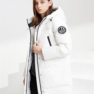 Bosideng Women's Down Jacket Middle-long New Fashion Hooded Windproof Warm Waterproof Coat LJ201128