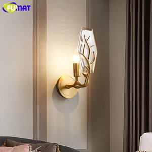 Lámpara de pared cristalina de cobre FUMAT creativo astas Salón Dormitorio Fondo de la pared de la lámpara de América del pasillo de la lámpara decorativa