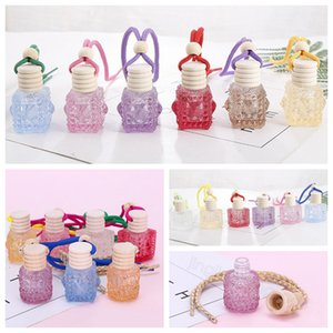 Car Perfume Bottle Pendant Essential Oil Diffuser Colorful Ornaments Air Freshener Pendant Empty Perfume Glass Bottle hanging decor FFA4510