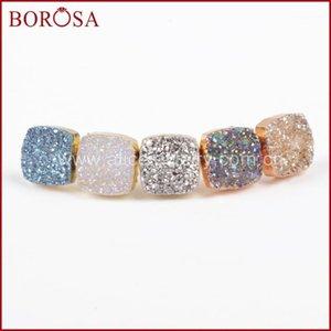 Stud BOROSA Arrival! Wholesale Gold Color Square Natural Crystal Titanium Mix Druzy Earrings G09141
