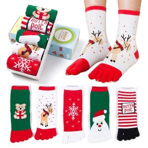 Christmas Unisex Stampa Punta multicolore Punta calze Five Finger Sock Cotton Funny Socks Christmas per Santa Lovely Fashion Sock1