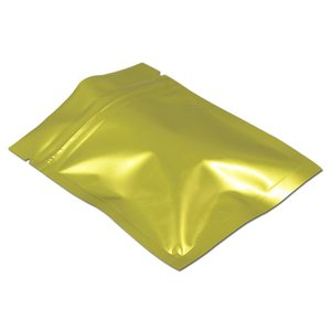 100 pz Lotto Vendita al dettaglio Golden Aluminum Foil Ziplock Packaging Bag Seal di calore Ziplock Candy Powder Polvere Mylar Stoil Storage Storage Pouch H Bbyhaj