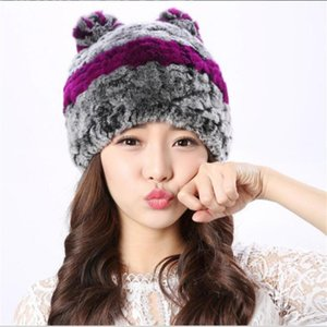 Hat Winter Women's Warm Real Rex Fur Cap with Ear Cute Thick Beanies Stripe White Red Headwear