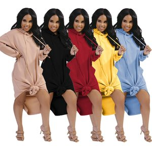 Autumn Long Loose Women Casual Dress Fashion Hooded Long Sleeves Solid Side Split Mid Calf Sweatshirt Dresses New Arrivals Real Photo