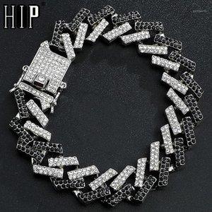 Hip Hop 15mm Blingced Out Out Full Rhinestone Браслет Геометрические CZ Камень Кубинская цепь Браслеты для мужчин Ювелирные Изделия1
