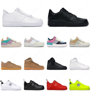 Nike Air Force 1 Hombres Mujeres Diseñador Zapatillas de deporte casuales Zapatos de skate Negro Blanco Utility Flax High Cut High quality Mens Trainer Sports Shoe