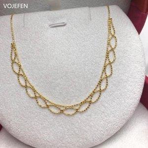 VODAFONE AU750 reales Gold Halskette Schmuck Retro handgemachte Fertigkeit Spitze königliche Halskette 18k 'Deco Lace' für Frauen