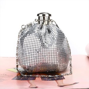 Women New Net Red Explosion Model Handmade Mini Hip Flask Bags Clutch Shoulder Aluminum Lady Cute Bag Wine Bottle Purse Bags Ju5