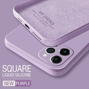 2021 Luxury Original Square Liquid Silicone Phone Case For iPhone 12 11 Pro Max Mini XS X XR 7 8 Plus SE 2 Thin Soft Cover Candy Case