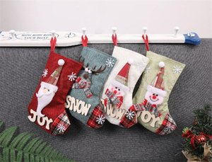 Snowman Medium Christmas Socks Fashion Kids Santa Claus Candy Gift Bag Christmas Day Home Decorative Props DHE2791