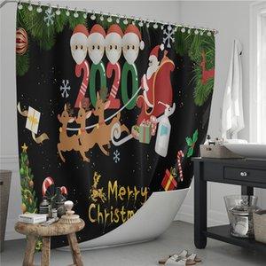 방수 크리스마스 커튼 2021 격리 크리스마스 욕실 커튼 매트 홈 인테리어 파티션 커튼 목욕 커튼 E103105 샤워