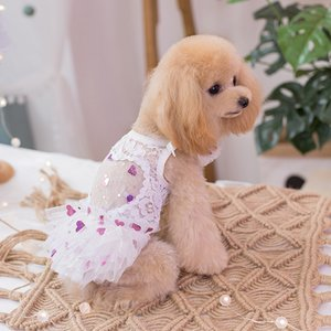 Free Shipping Handmade Dog Clothes Dog Dress White Lace See-Through Sweat Heart Tutu Tulle Skirt Cats Pet Party Evening Gown