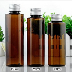 30pc lot 100ml Amber Bottle Liquid Brown Color Mini Plastic Transparent Empty 120ml PET Travel With Aluminum Cover