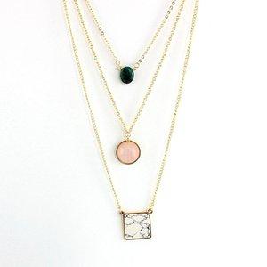 Collier de pendentif en pierre naturelle Melihe Femme Multicoure pour femme 2021 Gold Color Chain Boho Charm Colliers Pendentifs SNE160046