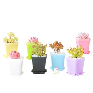 Candy Colors Cute Plastic Flowerpot Home Office Desktop Square Succulent Plant Pot Home Garden Decor WB2894