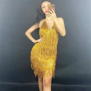 Sexy Sparkly Gold Rhinestone Fringe Transparent Backless Short Dress Birthday Celebrate Outfit Women Dancer Show Dresses