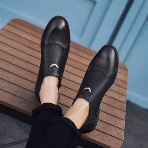 뜨거운 판매 - 남자 가죽 비즈니스 신발 캐주얼 드레스 신발 라운드 발가락 블랙 컬러 통기성 루퍼 가죽 신발
