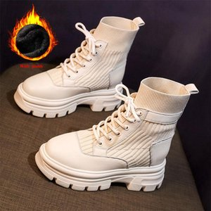 Women's Boots Autumn Winter Casual Women Platform Shoes Lace-Up Ankle Boots Height Increasing Women Black