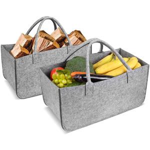 Felt Bag Firewood Storage Basket Felt Shopping Basket Cloths Bag Laundry Hamper Baskets with Handle for Carry Wood Toys Shopping Basket