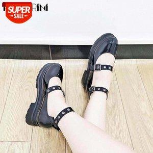 RIBETRINI Genuine Leather Girls Pumps Black Buckle Shallow Platform Marry Janes Pumps Women Cosplay Gothic Quality Shoes Woman #WW0Z