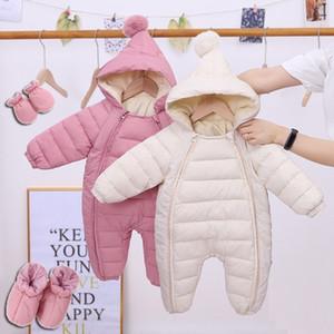 Олекид новорожденный детский комбинезон с капюшоном плюс бархат теплые детские мальчики снегосемяный малыш снежный костюм девочка хлопчатобумажные комбинезоны комбинезоны 201114