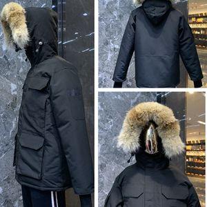 Высокое качество зимой пуховик человек парка вниз пальто большой реальный волк кожа с капюшоном стиль моды тепло досуг ветрозащитный и непромокаемые куртки