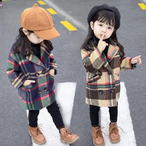Libero DHL INS New Spring Toddler Girls Cappotto per 1-5 anni Cappotto di lana di lana plaid femminile Cappotto di pelliccia Baby Kids Girls Lattice Abbigliamento