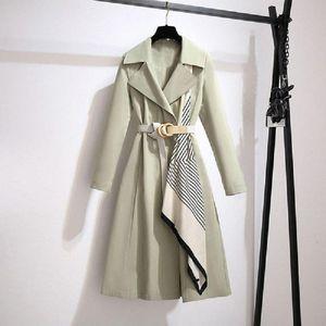 AIRGRACIAS Winter Woman Coats 2021 Unique Silk Scarf Design With Belt Chic Trench Coat Casual Light Green Temperament Overcoat