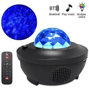 Nuevo Colorido Galaxy Starry Sky Proyector LED Night Light Bluetooth USB Control de voz Reproductor de música Speaker Star Proyección Lámpara Cumpleaños