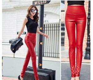 Новый дизайн мода женская плюс бархат теплый сексуальный бойконку туника высокая талия искусственная кожа конфеты цвет карандаш брюки длинные брюки SMLXLXXL