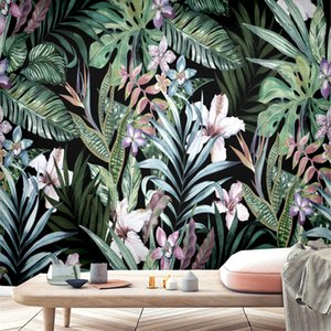 Wallpaper AL-Mulk Custom Wallpaper Mural Self-adhesive Black Background Flower Leaf Forest FQ226 Pastoral Interior Decoration 3D