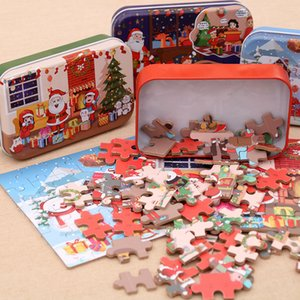 60Pcs Christmas Santa Claus Wooden Jigsaw Puzzle Game Mini Wood Puzzles Toy For Children Gifts Cartoon Puzzles Educational Toys