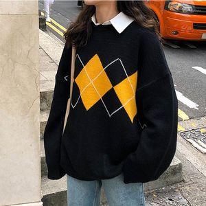 MXTIN Moda Geométrica Rhombic Malha Solta Camisola Mulher 2020 Vintage O Neck Manga Longa Fêmea Pullovers Chic Casual Tops1