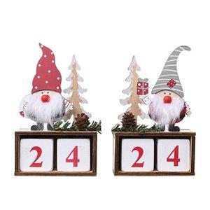 Christmas Desktop Ornament Weihnachtsmann Gnome Kalender Holz Weihnachten Advent Countdown Ornament Startseite Tabletop Dekor JK2010XB