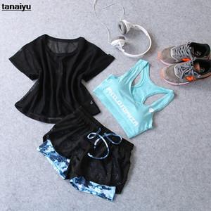 Minanser Bicicletas Treino Sportswear roupa da aptidão de 2020 Verão New Ciclismo Shorts Suit Yoga 3 Piece Set Mulheres