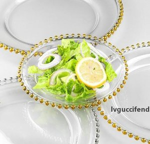 27cm Round Bead Dishes Glass Plate with Gold  Silver  Clear Beaded Rim Round Dinner Service Tray Wedding Table Decoration GGA3206-2